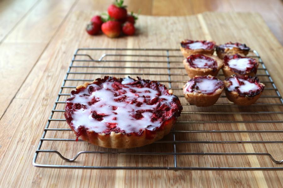 Homemade strawberry tart with shortbread crust