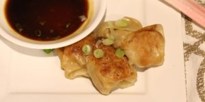 Ground chicken pot stickers with dipping sauce