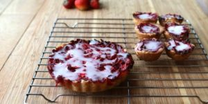 Homemade strawberry tart with shortbread crust
